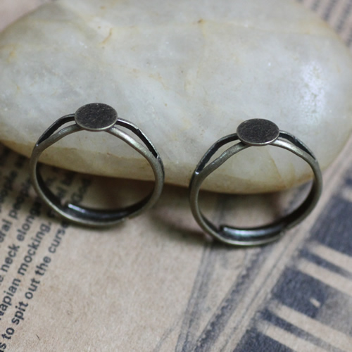 200pcs/Lot 6mm,8mm,12mm Pad ring blank with Cameo Tray,Antique Bronze Ring setting,Handmade DIY Zakka jewelry Finding