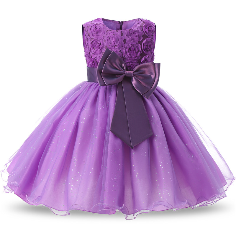 Summer 2-12   Girls   Sparkle   Dress   Children's elegant rose fluffy   flower     girl     dress   Party cute princess   dress