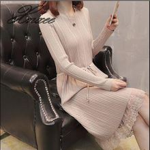 Xnxee new round neck long sweater dress dress hem lace tie slim bottoming sweater women raw hem geo pattern crop sweater
