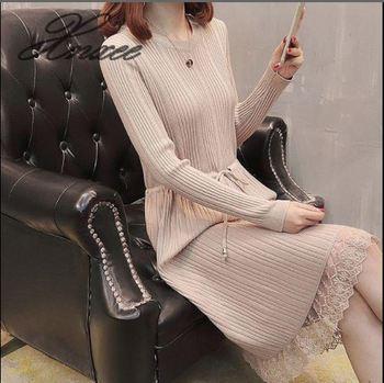 Xnxee new round neck long sweater dress dress hem lace tie slim bottoming sweater women цена 2017