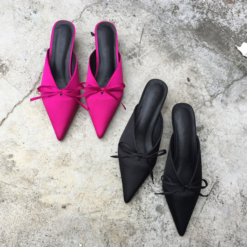 Bowtie Mules Pointed Toe Women Pumps High Heels Slip on Kitten Heel Chic Women Mules Elegant Office Shoes Women pay with paypal for sale discount real SqjVG74JsY