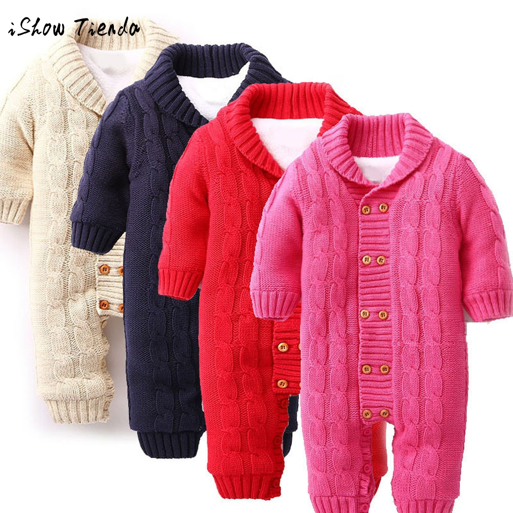 Newborns Baby girls boys Button long sleeve V-Neck Rompers Lapel Knitted Thickened Sweater Jumpsuit winter solid costume clothes 300cc 330cc thickened silicone sleeve adapter
