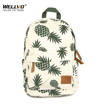 Ananas druku plecaki uczniowie szkoły torby dla nastolatków dziewczyn książki torby na laptopa torby podróżne kobiet dzieci plecak XA21ZC