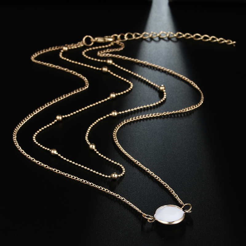 X58 ファッションジュエリー天然石クリスタルチョーカーネックレスオパールペンダントネックレスゴールドカラー多層チェーンネックレス女性のための