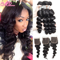 Vip Beauty Hair Peruvian Virgin Hair With Lace Closure 7a Soft Human Hair Weave Bundles 3/4pcs Peruvian Loose Wave With Closure