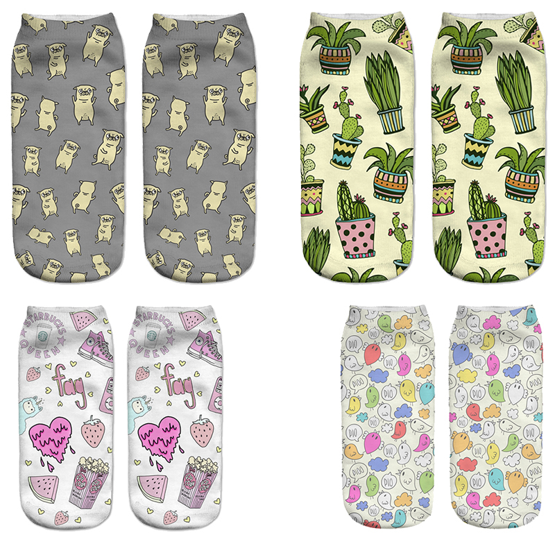 3D Plantlife Cactus Women Creative Printed Socks Female Pug Chicken Funny Socks Burger Multicolor Fruit Socks Girl Graffiti