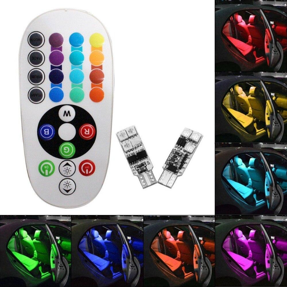 2pcs T10 6SMD RGB LED Car Dome Reading Light DC12V 6SMD 5050 Lights Bulb+Remote Control