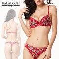 Balaloum Floral Impressão De Luxo de Verão Underwear Confortável Reunir Sutiã Sexy Conjunto com Tanga Plus Size
