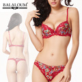 Balaloum Floral Printing Luxury Summer Underwear Comfortable Gather Sexy Bra Set with Thong Plus Size