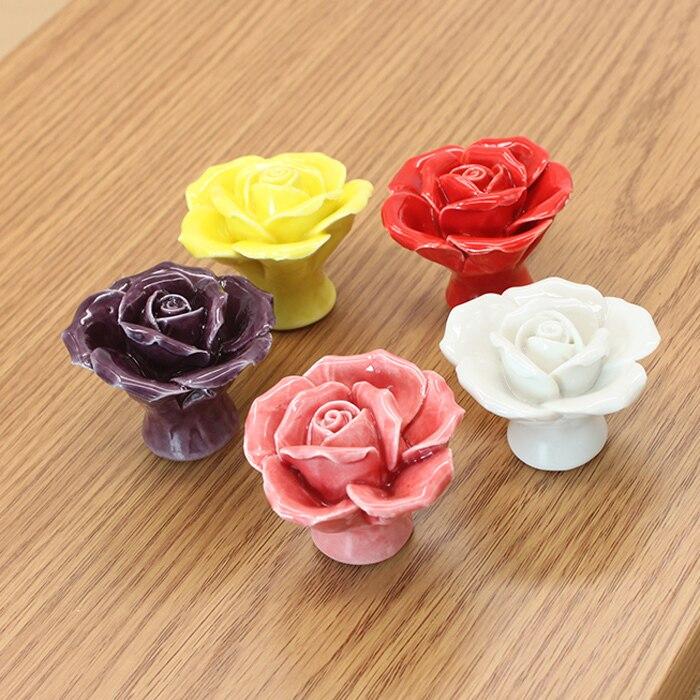 Creative Cupboard Cabinet Pull Handle Rose Flower Knob Ceramic Dresser Knobs Unique Porcelain Drawer Knobs Pulls