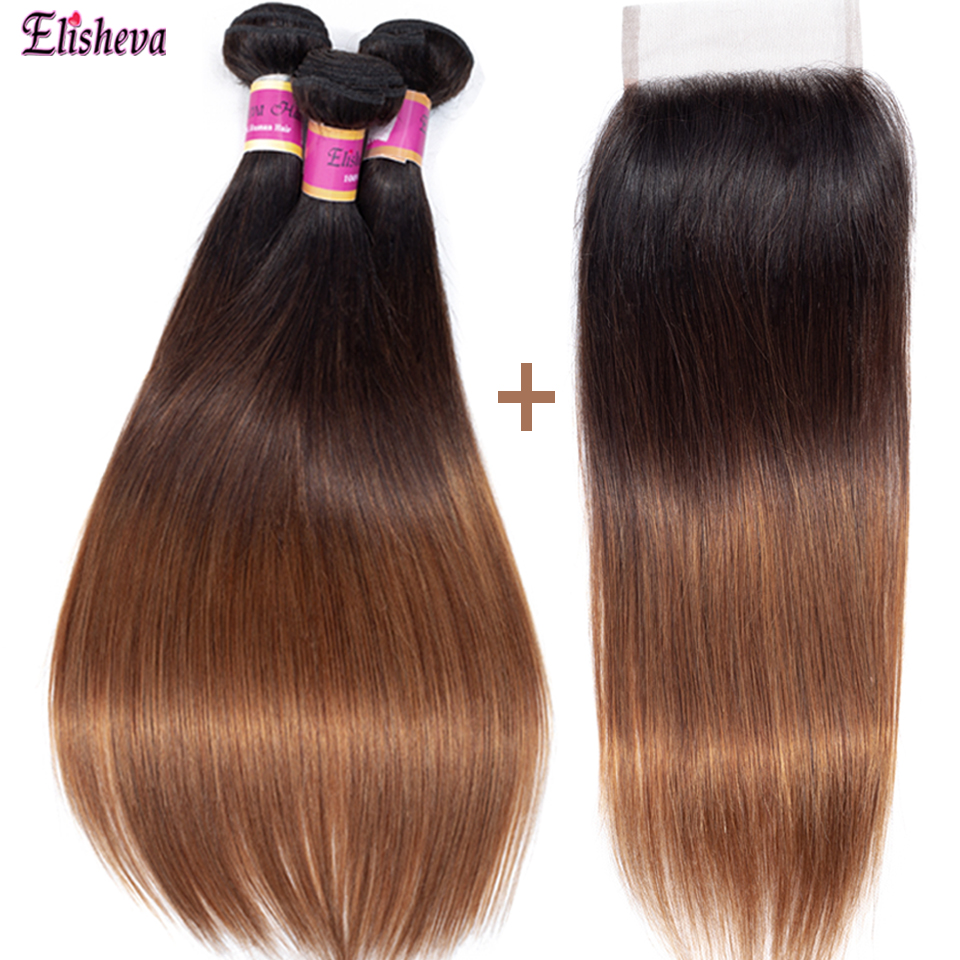 Elisheva Ombre Bundles with Closure Dyed T1B 4 30 Three Tone Peruvian Straight Hair Remy Colored