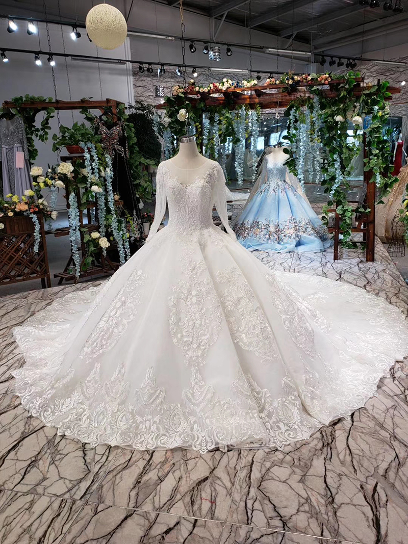 LS53710-1 luxury wedding dresses long sleeve o neck open back ball gown bridal dress up gowns 2019 promotion vestido de noiva (2)
