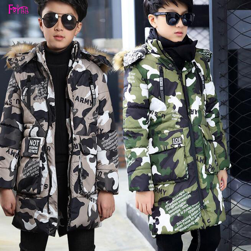 Kids Children's Clothing Outerwear Down Parkas Boys Clothing Boys Winter Coats Long Hooded Thickened Army Style Kids Clothes