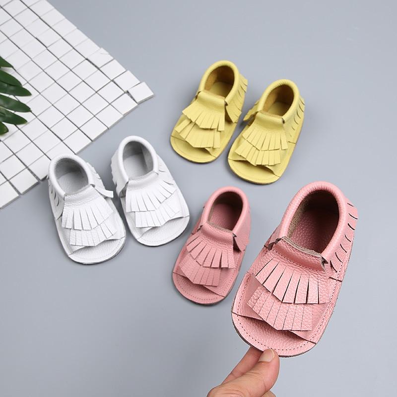 2018 Summer Girls Toddler Shoes Fashion Tassel Infant Toddler Shoes Genuine Leather Soft Bottom Anti-slip Child Kids Shoes