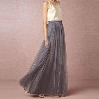 Women Maxi Long Skirt Soft Tulle Skirts Elastic Waist Wedding Party Boho Vintage Summer Faldas Saia