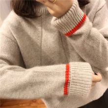 New autumn and winter cashmere sweaters loose, high-necked woolen knitted sweaters for long-sleeved warm women's sweaters Loose(China)