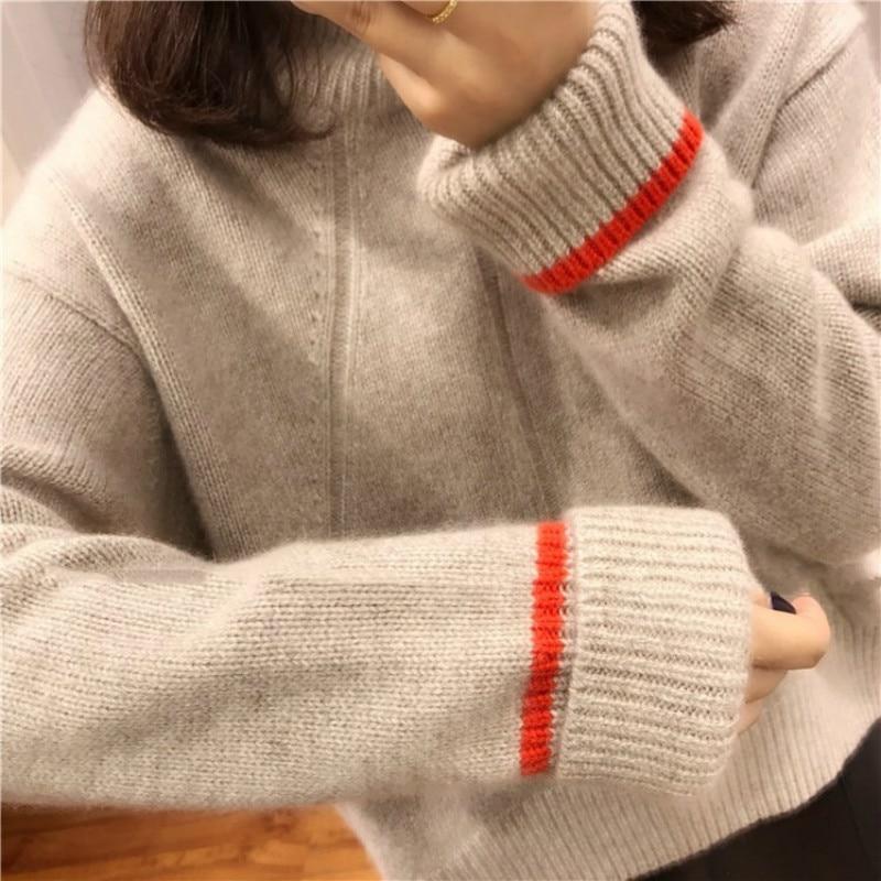 Nouveau automne et d'hiver cachemire chandails lâche, à col haut de laine tricoté chandails pour à manches longues chaud femmes de chandails Lâche