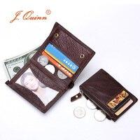 J.Quinn 2018 Genuine Leather Wallet Vintage Small Coin Purse Cowhide Men Wallets Male Short Slim Zipper Wallet Card Photo Holder