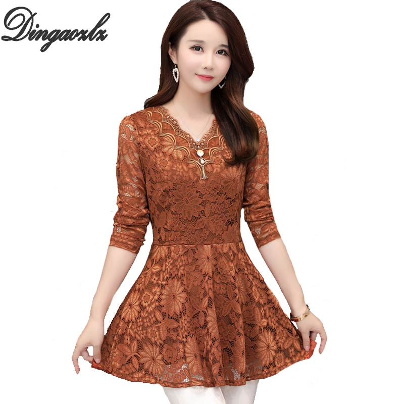 Dingaozlz L-5XL Plus size Lace   shirt   Elegant Ruffles Women clothing V neck Long sleeve Lace   blouse     shirt   Blusa Crochet Tops