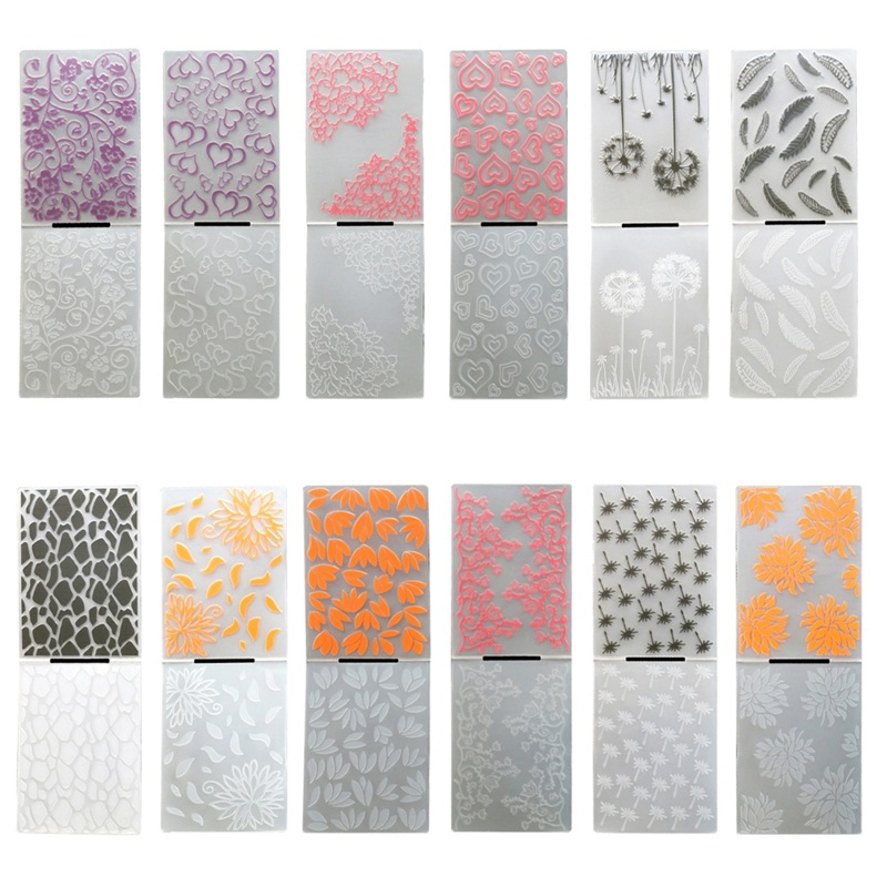 Plastic DIY Embossed Stencil Folder Peony Flower Embossing Panels Scrapbooking Card Paper Craft Decoration Hearted Feathers