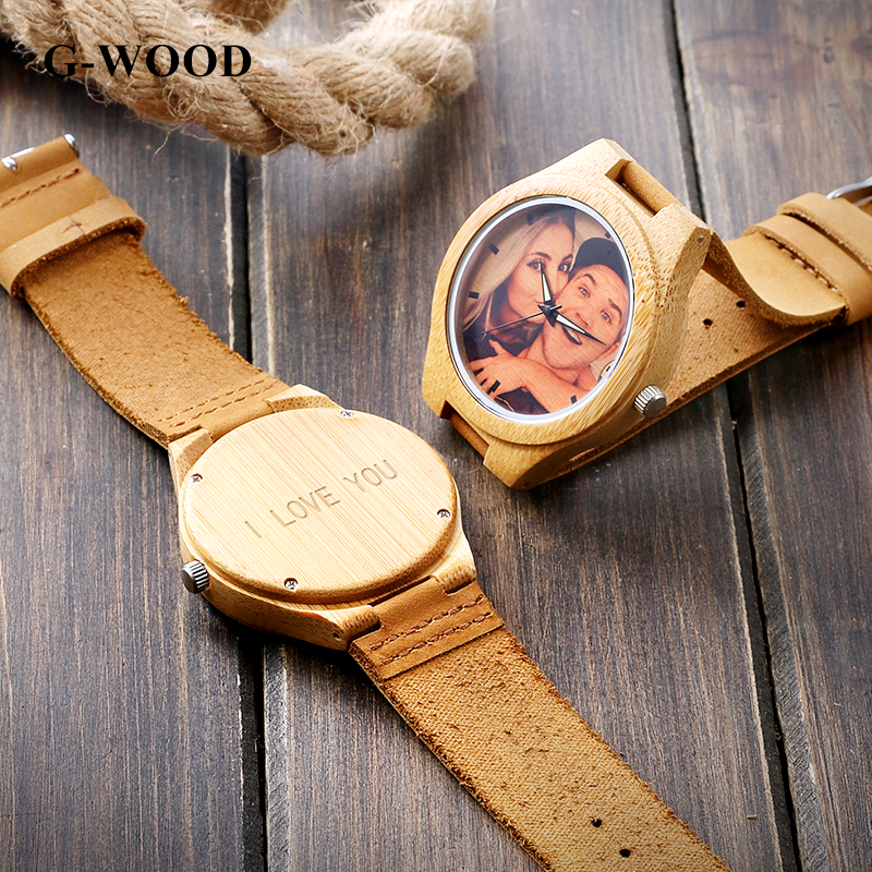 G-WOOD Custom Photo Couple's Wooden Watches 2018 Unisex Wood Bracelet - Балалардың сағаттары - фото 4