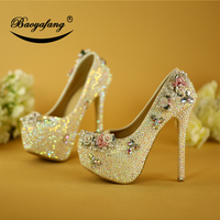 BaoYaFang Bling color rhinestone wedding shoes woman high heel platform shoes bridal pumps flower performance party shoes