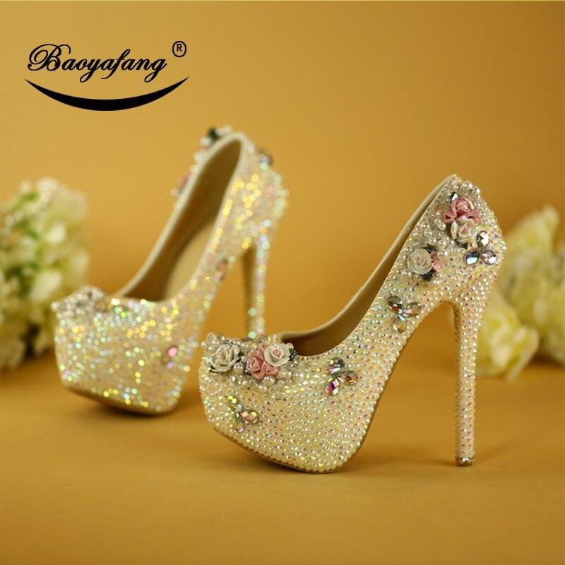 Ayakk.'ten Kadın Pompaları'de BaoYaFang Bling renk taklidi düğün ayakkabı kadın yüksek topuk platform ayakkabılar gelin pompaları çiçek performans parti ayakkabıları'da  Grup 1