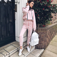 Chicanary Side Stripe Ribbon Pink Tracksuit Women 2 piece Hoodies Jogger Sets Casual Oversized Pullovers Pants Suit