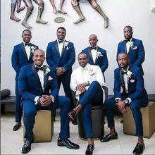Costume de marié bleu, tailleur pour mariage, 2 pièces, tailleur pour homme, tailleur, soirée business, haute qualité, 2019, offre spéciale