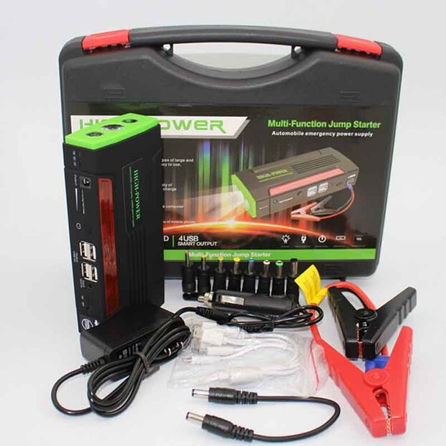 2016 New 68800mAh Car emergency Jump Starter 4 USB Mini Portable Emergency Battery Charger for Petrol & Diesel Car Black-green