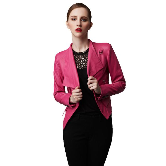 Fábrica 2016 Genuino de Cuero Real Chaqueta de Piel de Oveja Suave Moda Negro Rosa Slim Fit Short Bomber Chaquetas de La Motocicleta