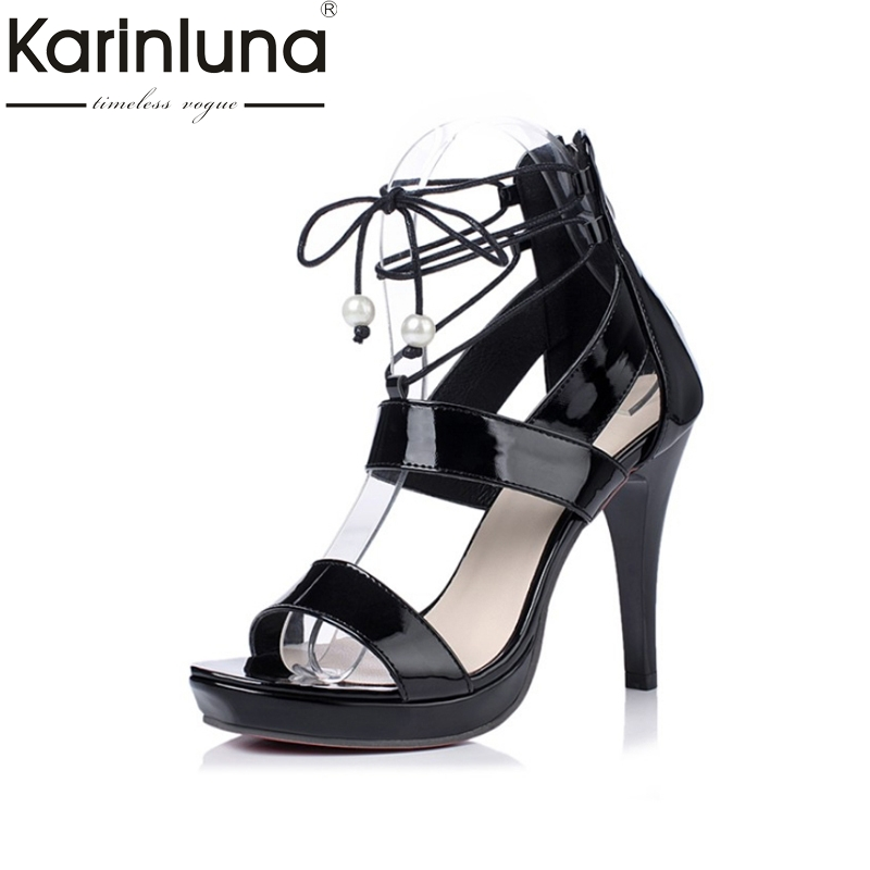 KARINLUNA 2017 Big Size 32-43 lace up Gladiator Women Shoes Woman Sexy black white Thin High Heels Party Wedding Sandals Lady size 35 43 women pumps high heels ladies sexy lace up gladiator sandals thin heeled gladiator shoes zapatos mujer shoes woman