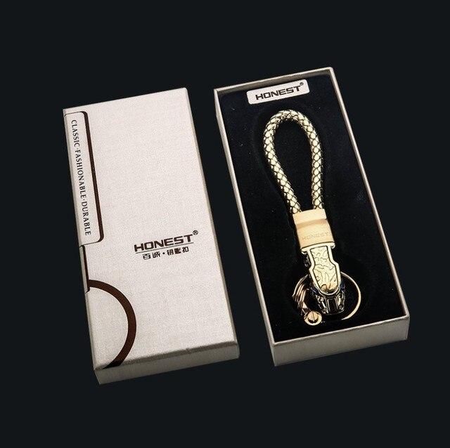 New High Grade Men Key Chain Key Ring Rhinestones Car Keychains Holder Jewelry Bag Pendant Business Gift Genuine Leather K1572