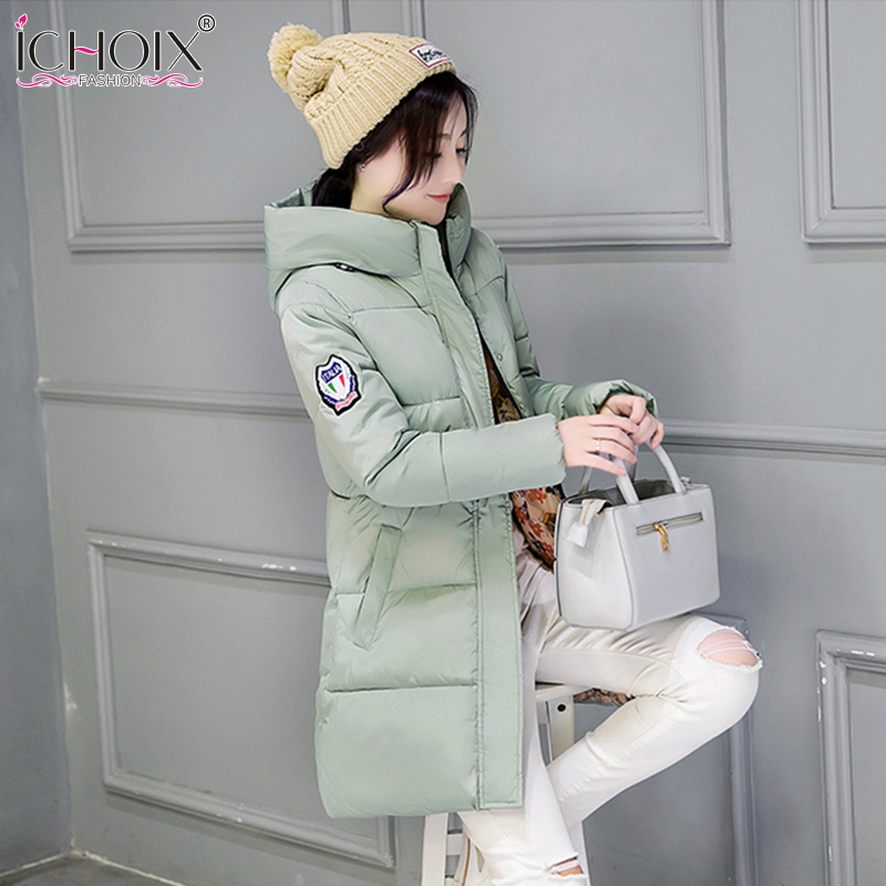 2017 Women Winter Coat Hooded Thicken Cotton Coats Female Students Overcoat Slim Warm Outwear Cotton-Padded Long Jacket Parka
