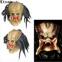 Top Grade Latex Movie Predator Cosplay Mask Costume Helmet Props Antenna Halloween Party Horror Xcoser Face Head Mask toys