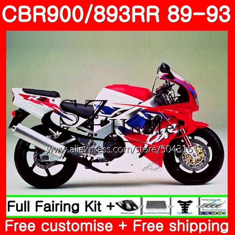 Corps Pour HONDA CBR 893RR lumière rouge CBR900RR CBR893RR 89 90 91 92 93 114SH11 CBR900 CBR893 RR 1989 1990 1991 1992 1993 Carénage