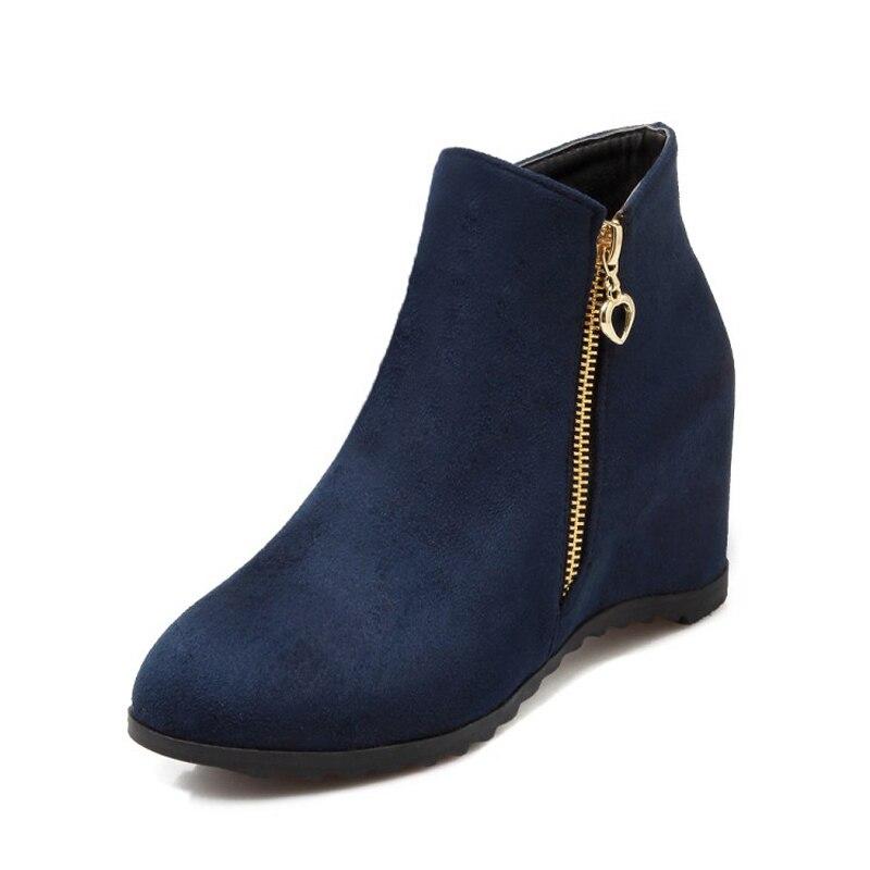 Women Ankle Boots Platform Wedge High Heels Warm Winter