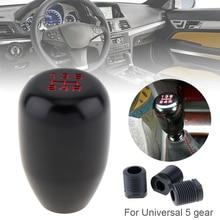 цена на Universal 5 Speed Aluminum Alloy Black  Car Manual Transmission Gear Shift Handball Knob with Plastic Adapter 2D