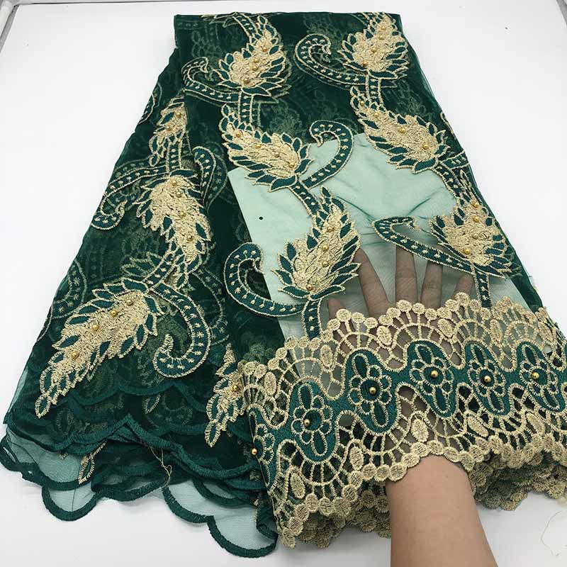 New Design French Net Lace Fabric Nigerian Dark Green Lace 2019 High Quality Beaded African Tulle