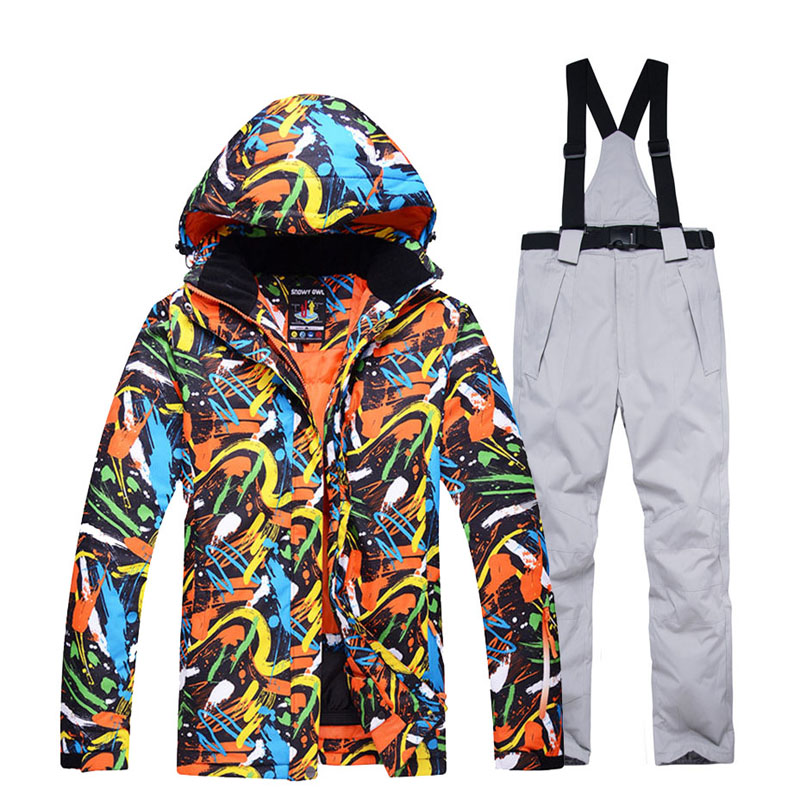 Men's And Women's Snow Clothing Snowboarding Suit Sets Waterproof Windproof Winter Wear Mountain Ski Jacket And Strap Snow Pant
