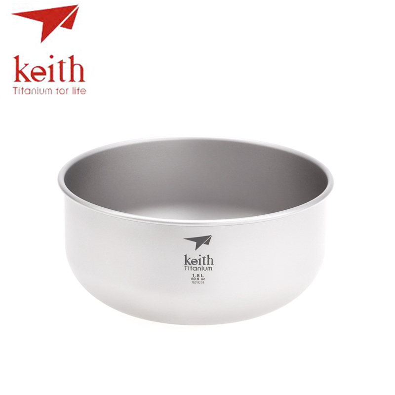 Keith 1.8L Titanium Salad Big Bowl Ultralight Pure Titanium Large Soup Bowls For Outdoor Camping Hiking Travel Tableware