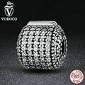 VOROCO Authentic 925 Sterling Silver Stopper Pave Barrel, limpar cz clipe encantos fit pandora bracelet mulheres jóias diy c012