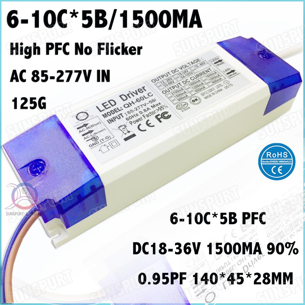 2 Pcs PF0.9 60W AC85-277V LED Driver 6-10Cx5B 1500mA DC18-36V No Flicker Constant Current LED Power For Spotlights Free Shipping