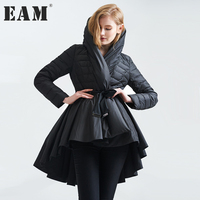 EAM 2017 Temperament Winter Fashion Loose Coat Tide New Pattern Dovetail Hem Parkas Jackets Women