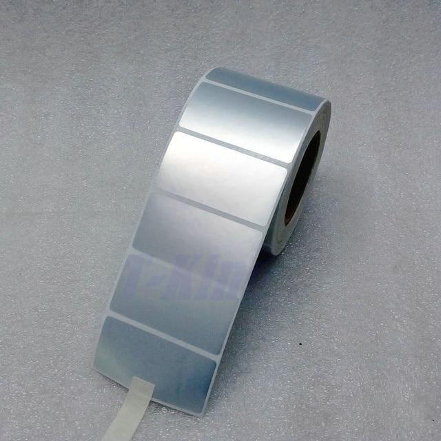 シルバー Pet ラベルステッカー 65*35 ミリメートル 1000 個/ロール防水 Tearproof 耐油製品ラベルシリアル番号固定資産ラベル