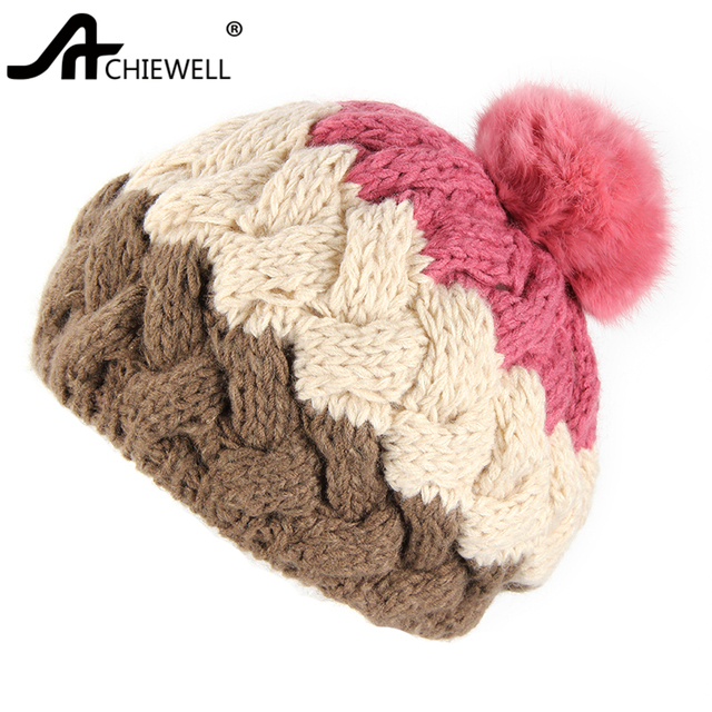 Achiewel Pom Pom Hat For Women Camel Pink Color Knitted Warm Hat Female  Beanie Cap Girl Hats d5d86afdf47