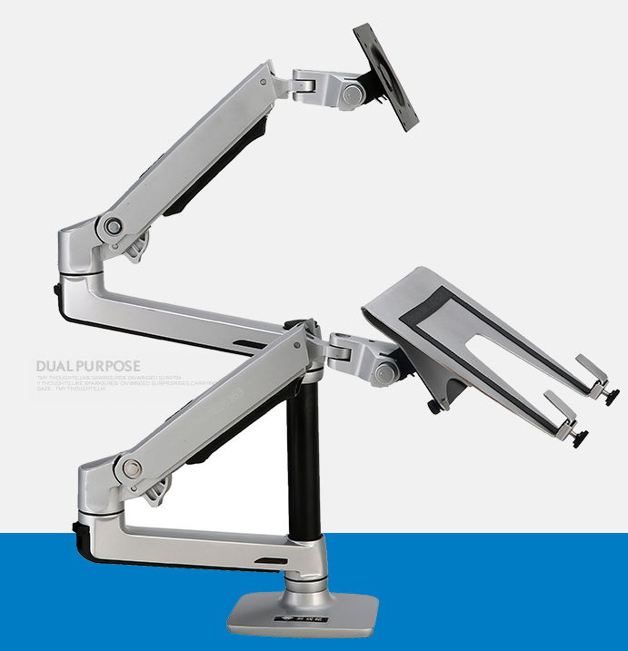 Desktop Full Motion 17-<font><b>32inch</b></font> <font><b>Monitor</b></font> Holder Mount +10-17inch Laptop Support Mechanical Spring Dual Arm Max.Loading 10kgs Each image
