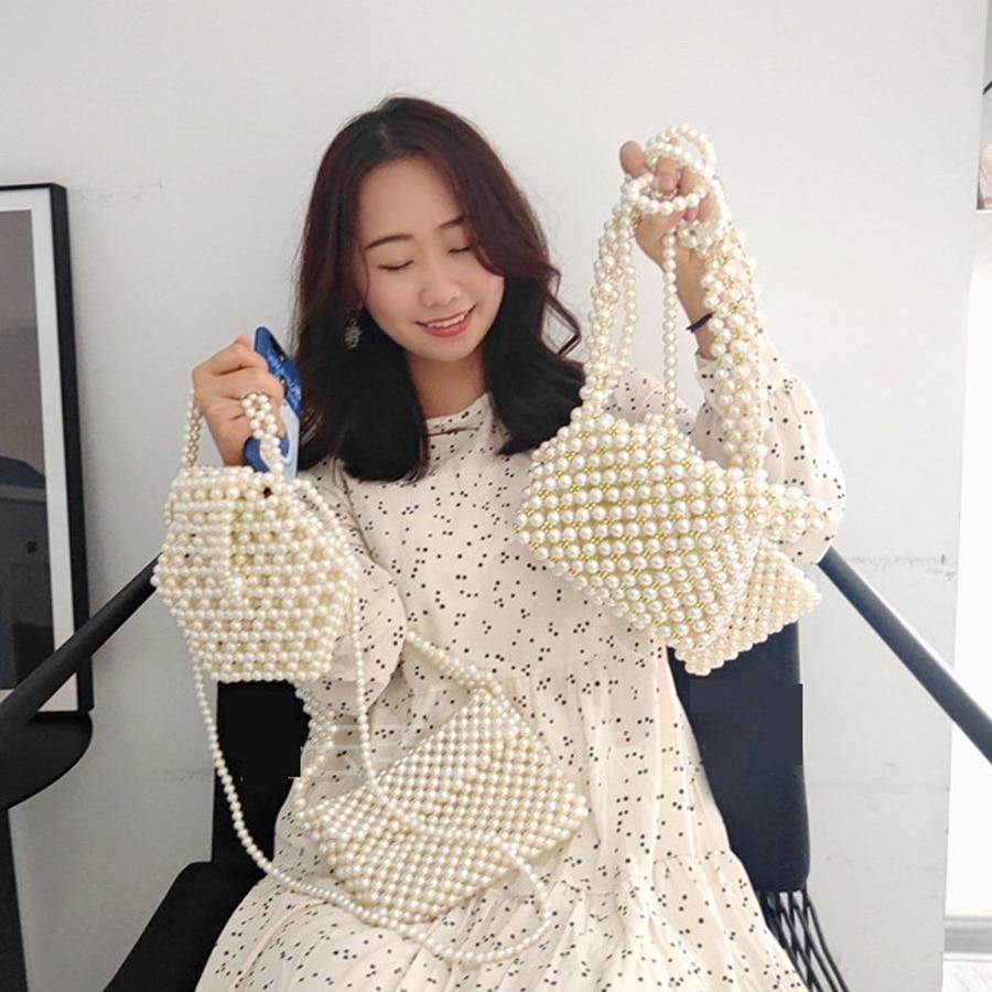 Handmade Women Pearl Bags Designer Beaded Shoulder Bags Charm White Pearls Crossbody Bag Luxury Evening Clutch Purse Lady 2019