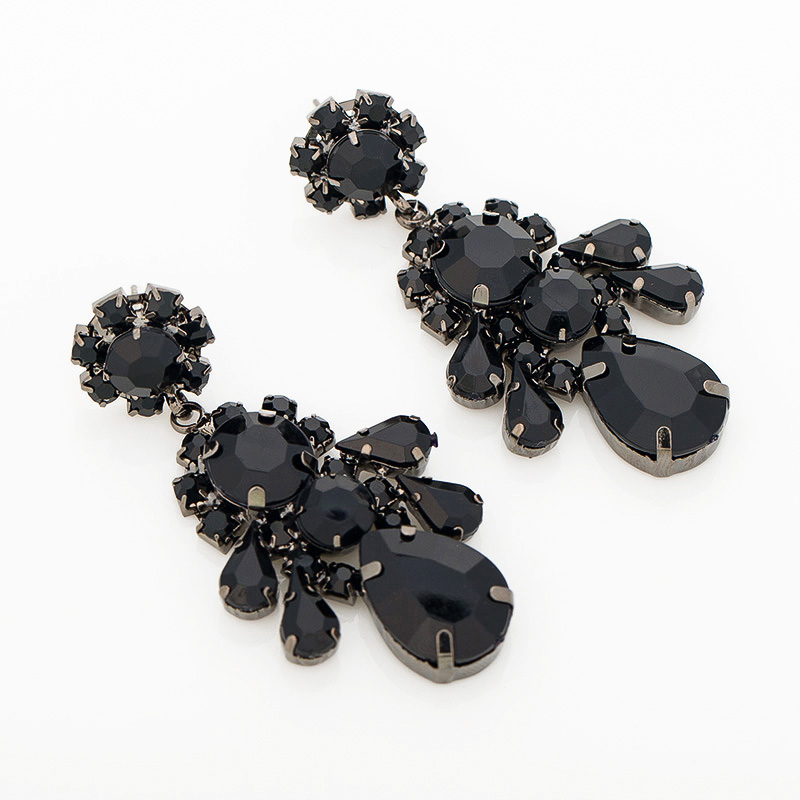 Hot Sale And Free Shipping High Quality 2016 Fashion classic style black water rhinestone Crystal drop earrings for wome #E091