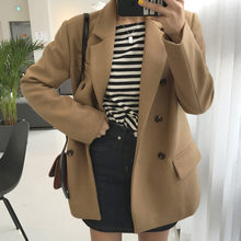 LANMREM 2019 Autumn Winter New Casual Fashion Women Loose Plus Solid Color Double-breasted Long-sleeved Woolen Coat TC799(China)